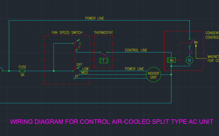 Wiring diagram autocad free cad block symbol and cad drawing wiring diagram for control air cooled split type ac unit asfbconference2016 Images