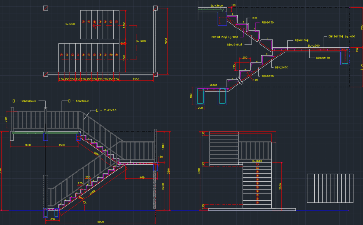 Stairs Cad Block And Typical Drawing For Designers