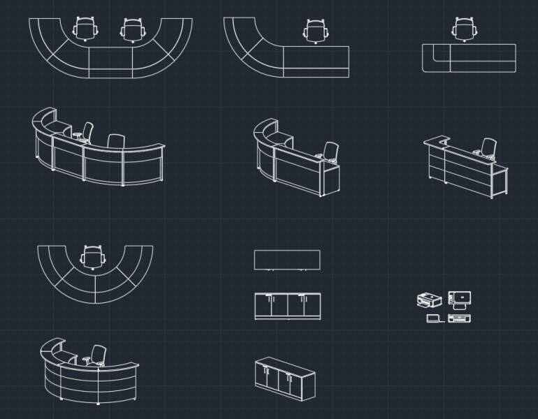 Reception Desks | | CAD Block And Typical Drawing For Designers