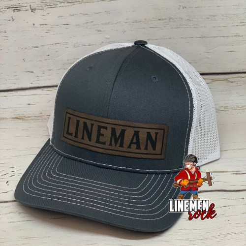 lineman leather patch hat