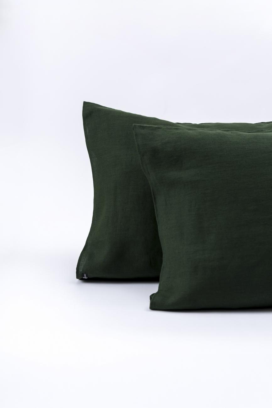 dark green washed linen pillowcase