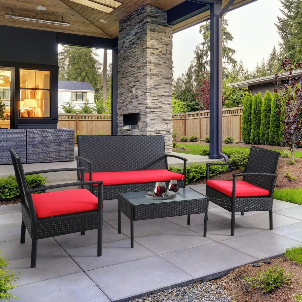 bayia 4 piece patio furniture set black red
