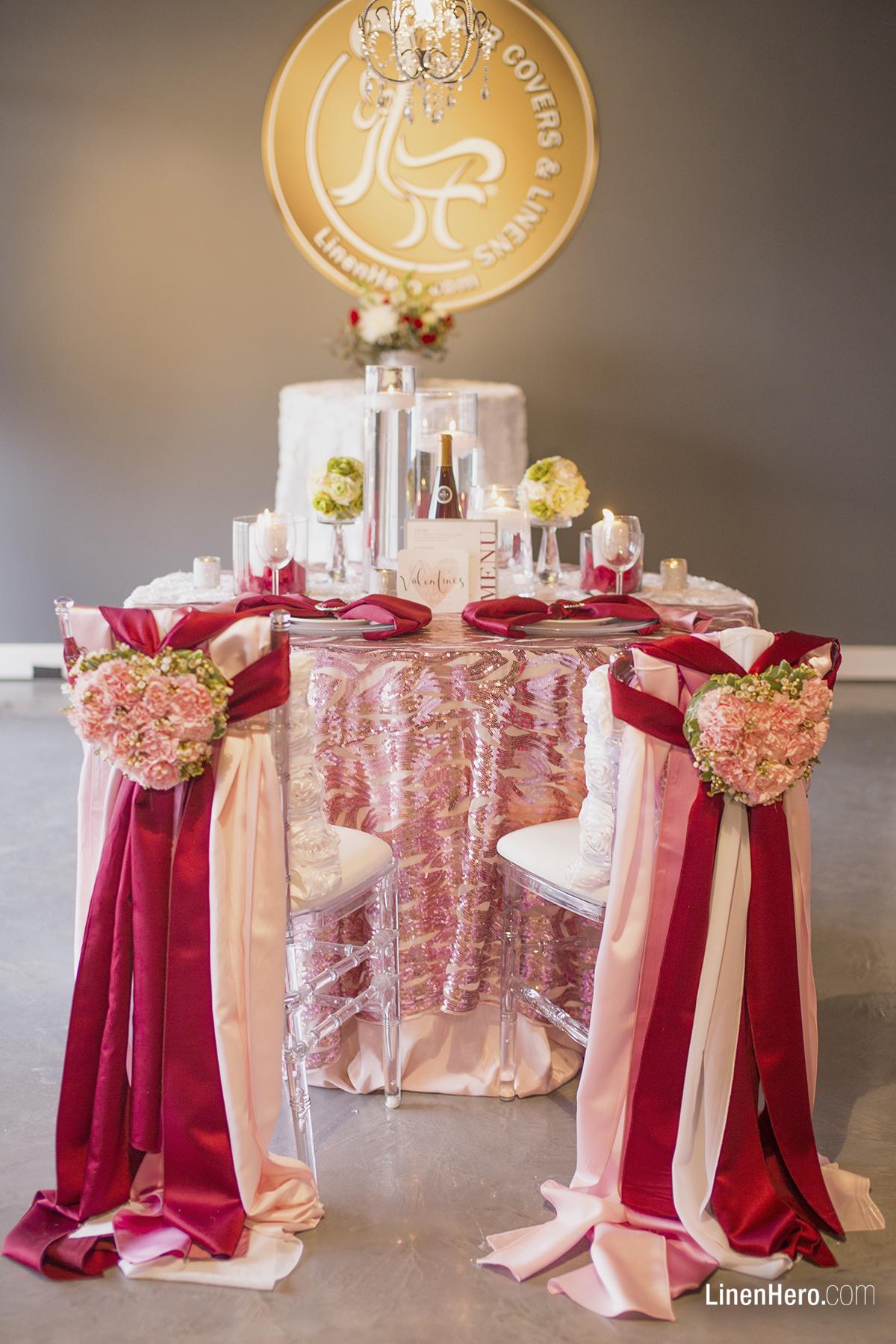Romantically Blushing Sweetheart Table  Linen Hero