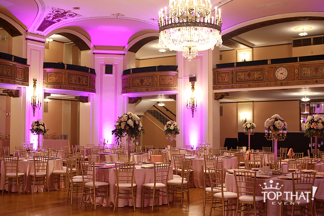 Masonic Temple Peach Sequin Wedding Reception  Linen Hero