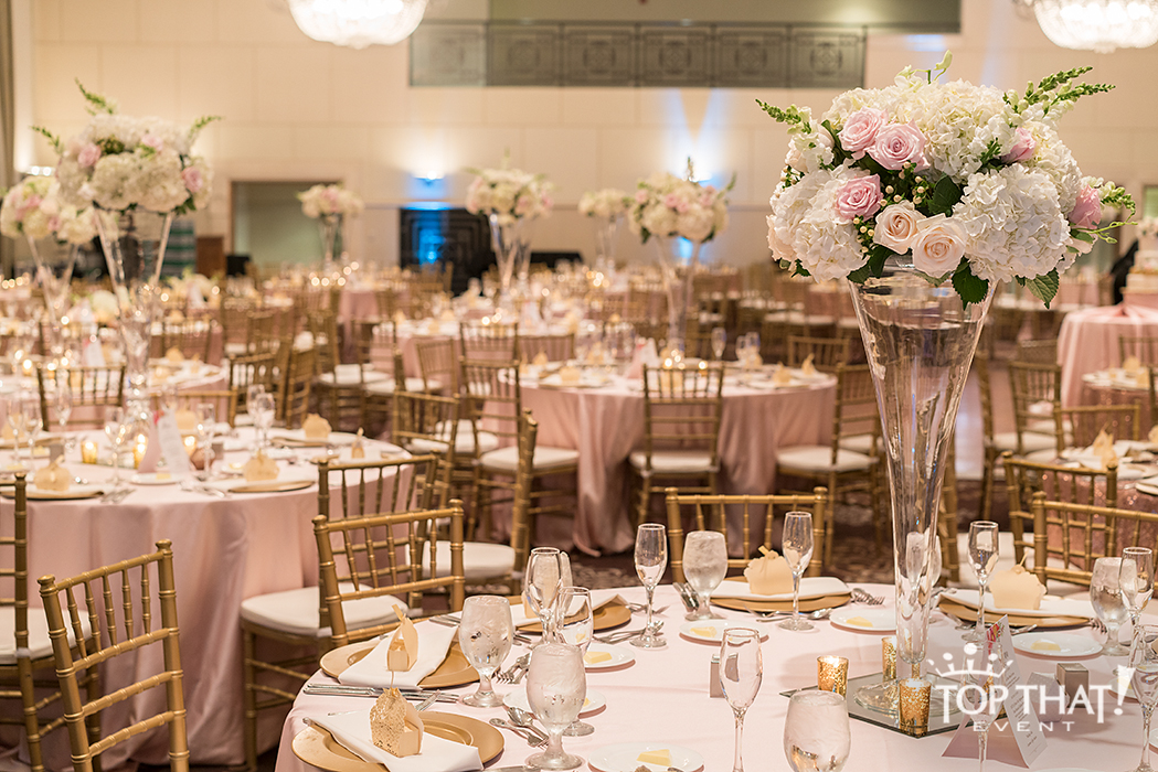 rose gold satin chair sashes wenger orchestra classy elegant wedding linen designs at the inn st. johns - hero