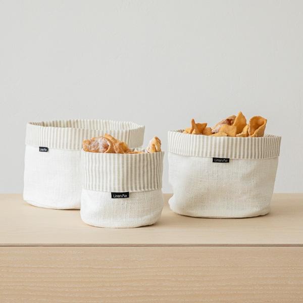 White Striped Linen Cotton Basket Beige Jazz LinenMe