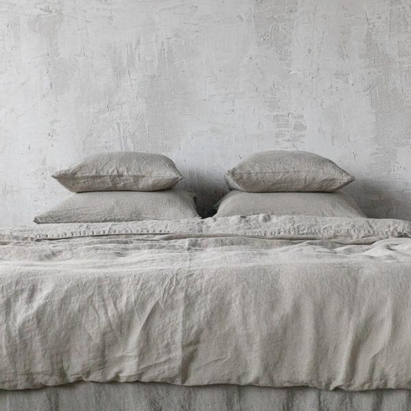 Set aus Stonewashed Taupe Bettwsche LinenMe