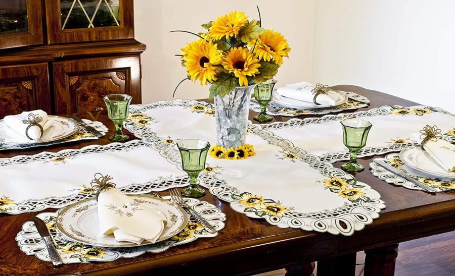embroidered sunflower table runner