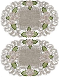 embroidered gold daisy on green placemats-set of 2