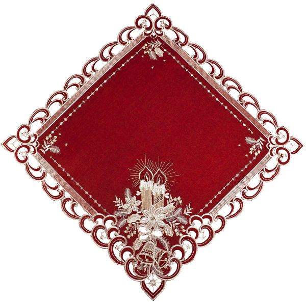small 24″ square embroidered red christmas white doily