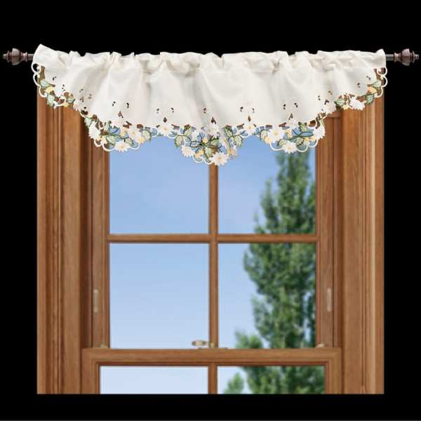 embroidered white daisy green leaves window valance