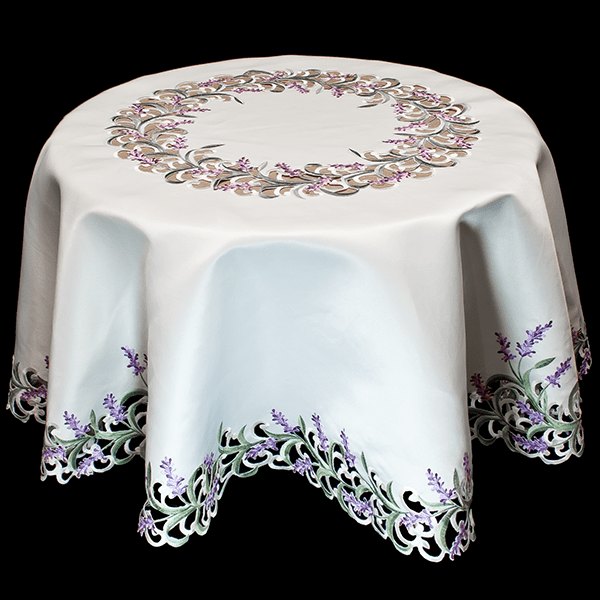 embroidered purple lavender round tablecloth