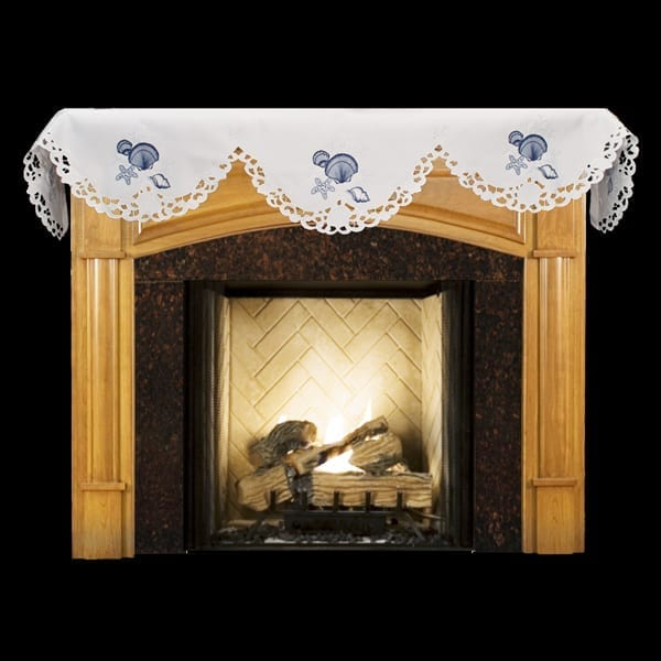 embroidered blue seashell white fireplace mantle scarf