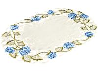 embroidered blue rose linen place mat