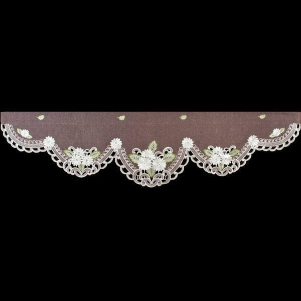 embroidered white daisy on brown window valance