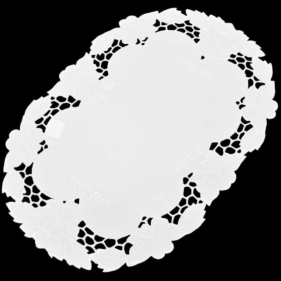 embroidered placemat white lily