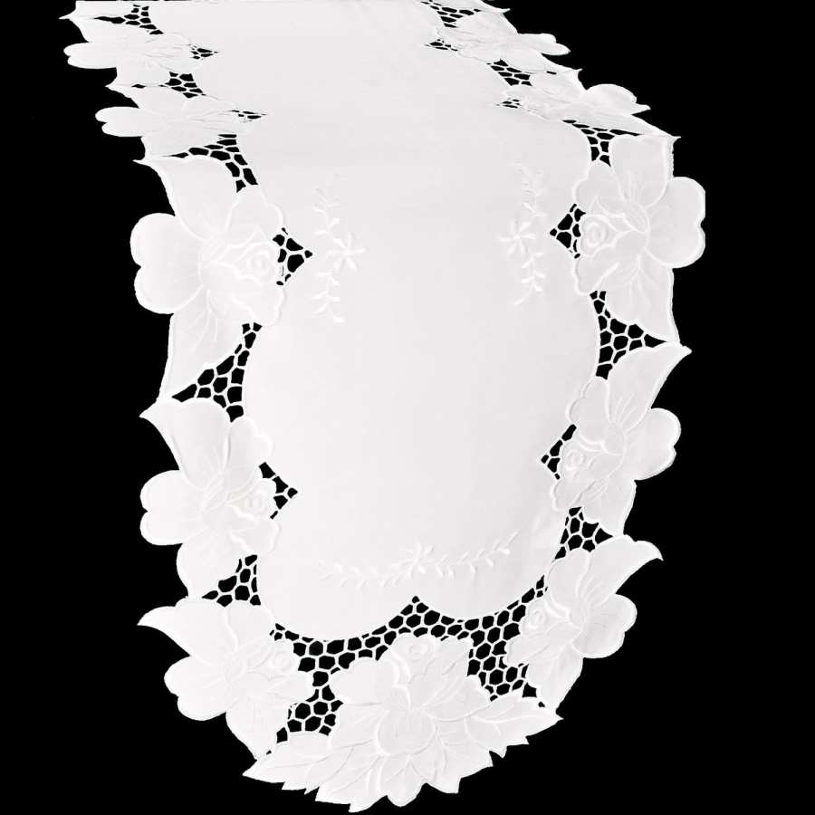 embroidered white rose table runner