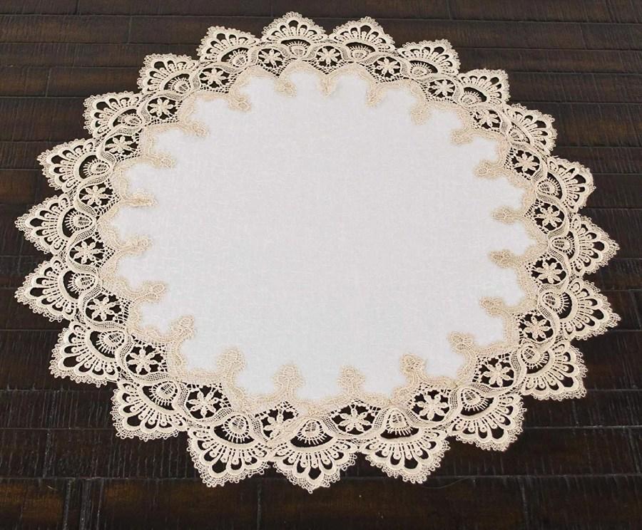gold european lace round doily