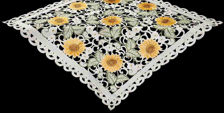 embroidered cutwork sunflower table topper
