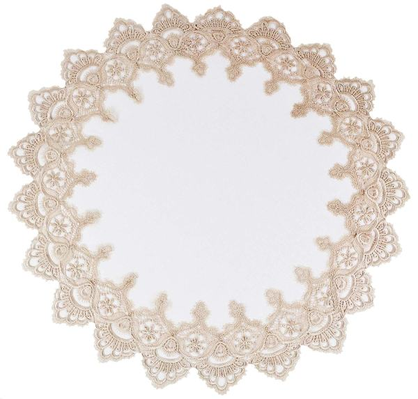 gold european lace round doily
