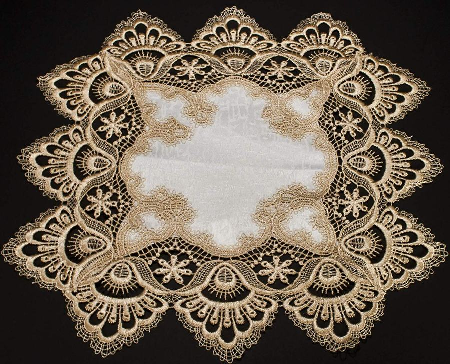 14″ square gold peacock lace doily