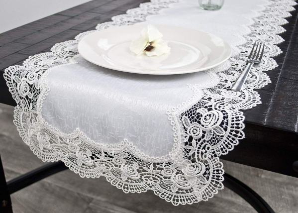 royal rose white lace table runner