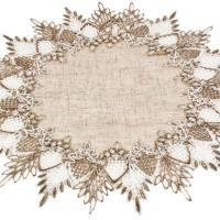 neutral earth tone beige lace round doilies