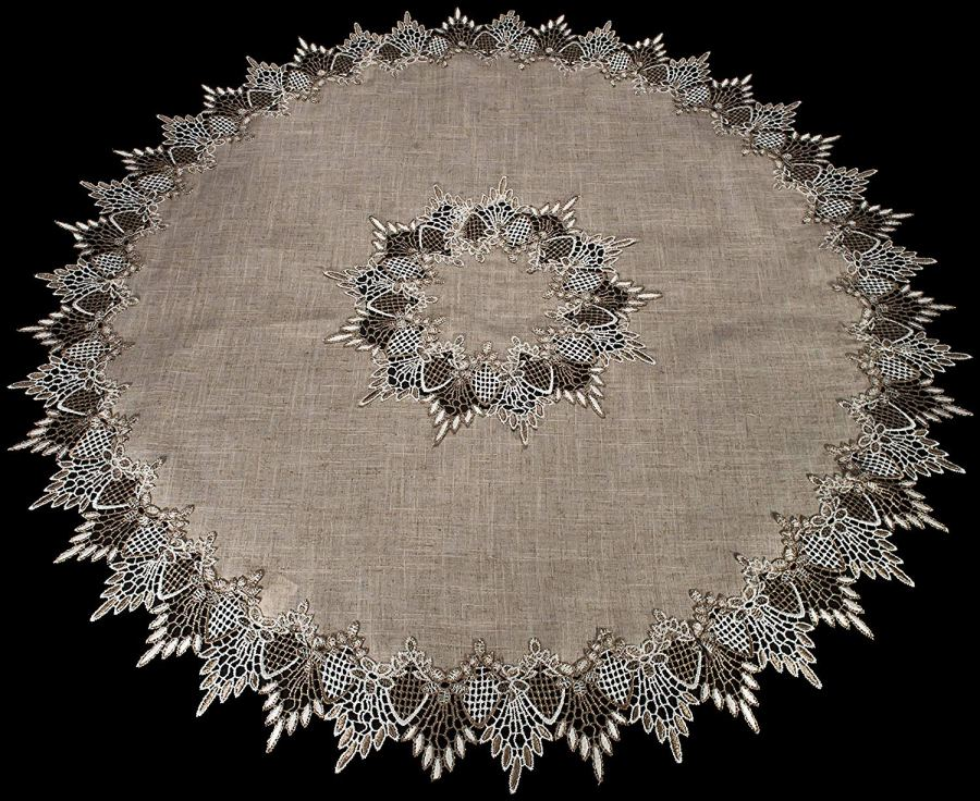 lace neutral beige round table topper