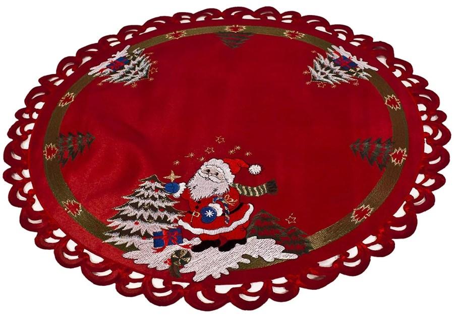embroidered santa claus round doily