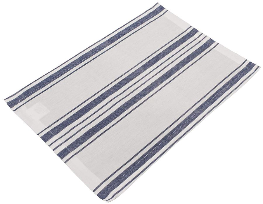 farmhouse place mat in blue and green stripe on white