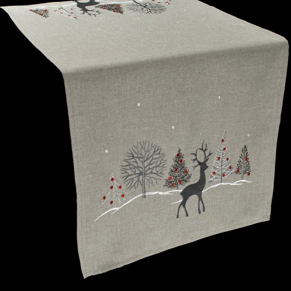 embroidered christmas reindeer christmas scene table runner