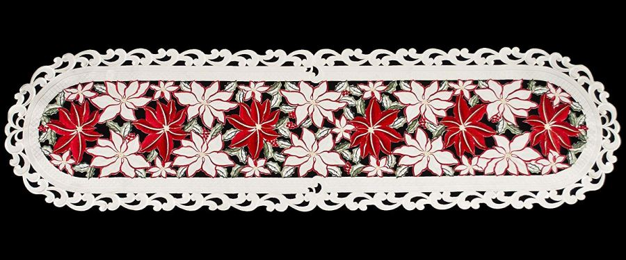 embroidered large poinsettia table runner – 16×54 oval