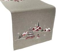 embroidered christmas scene table runner