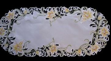embroidered yellow lily table runner