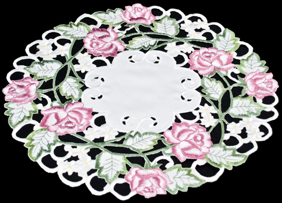 embroidered pink rose doily