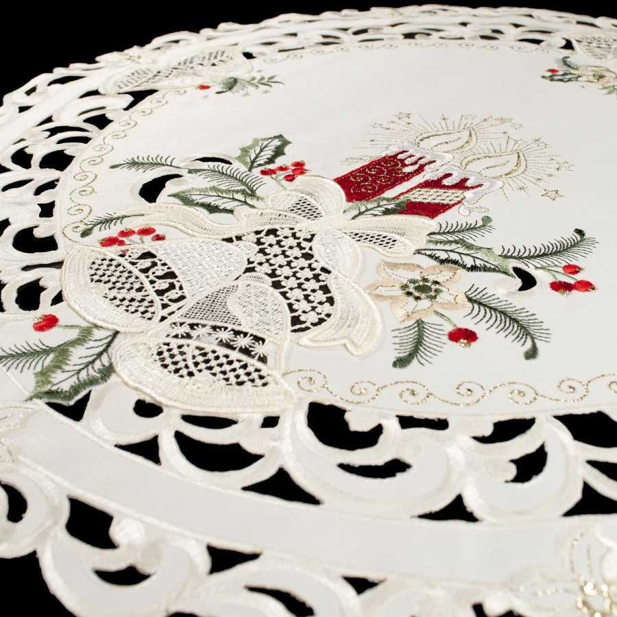 embroidered red candle lace bell round doily