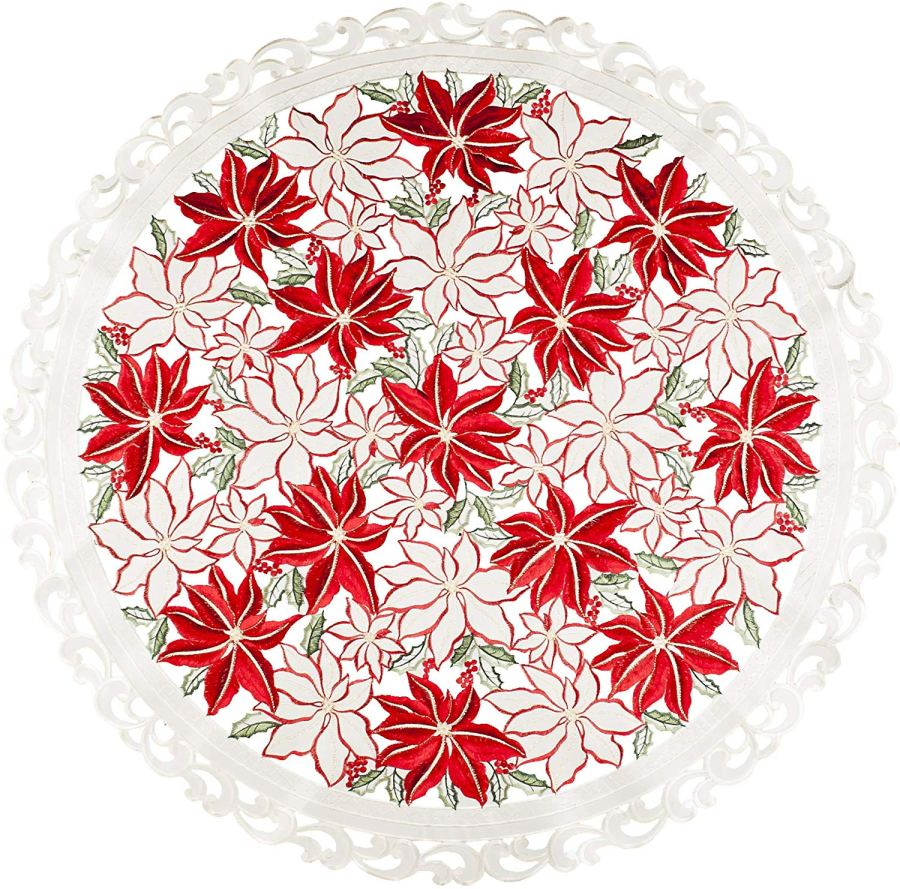 embroidered red & white poinsettia round doily