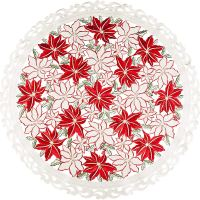 embroidered red & white poinsettia round doily