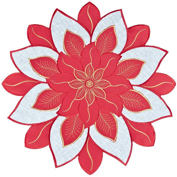 embroidered red & white poinsettia round doily – 24""