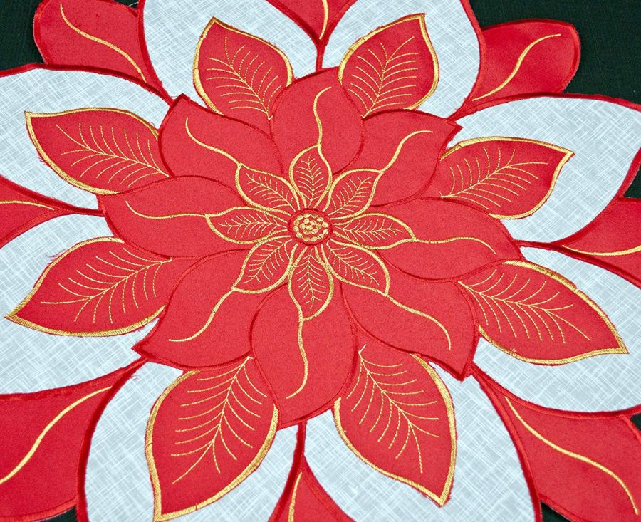 embroidered red & white poinsettia round doily – 36″