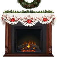 holiday poinsettia fireplace mantel scarves