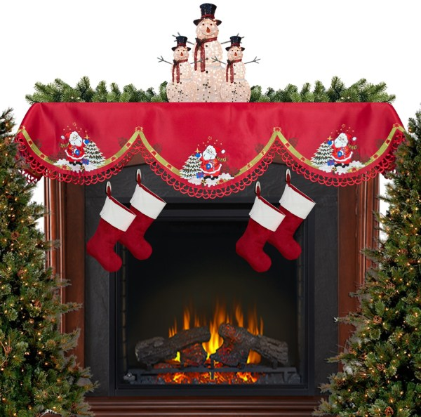 embroidered santa claus fireplace mantel scarf