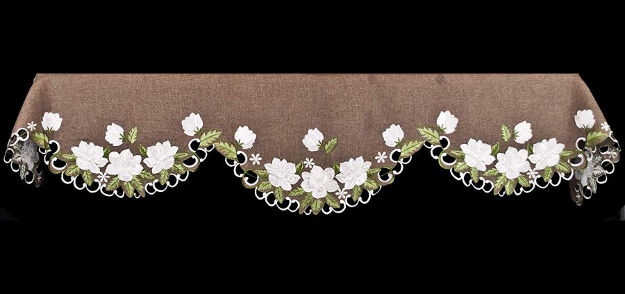 embroidered white magnolia fireplace mantle scarf