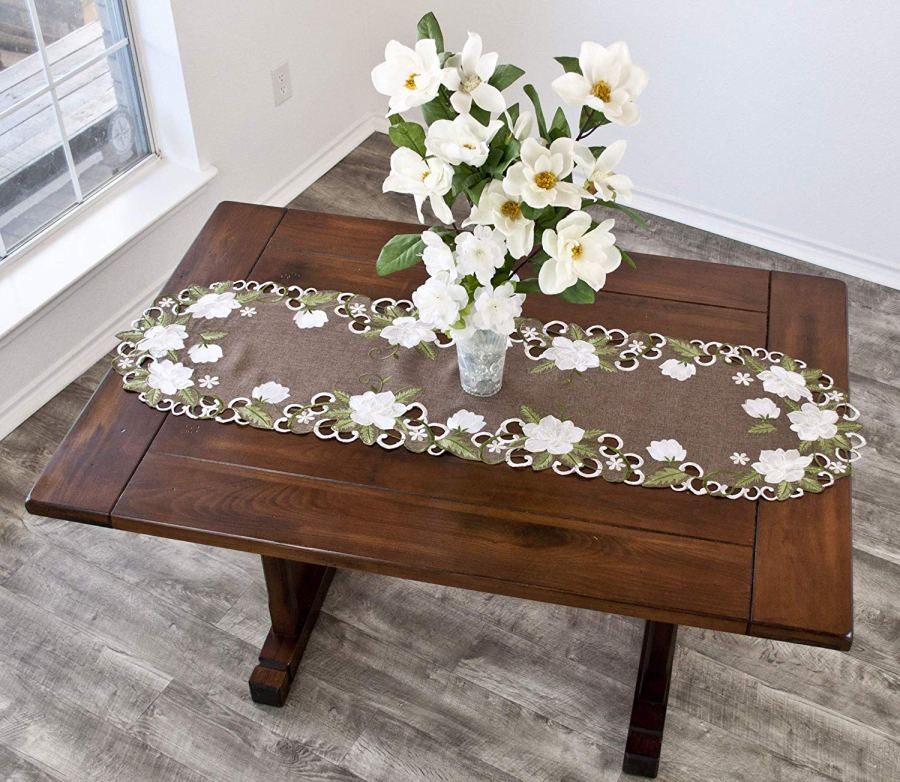 embroidered white magnolia linen table runner – 16 x 54