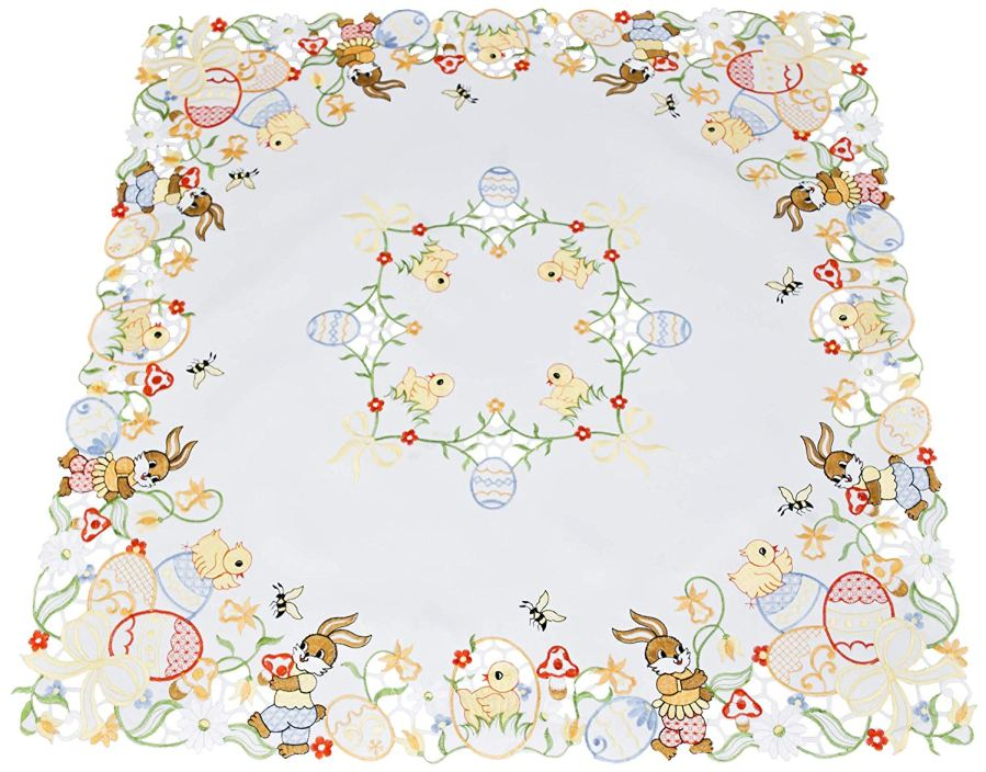 embroidered easter table topper
