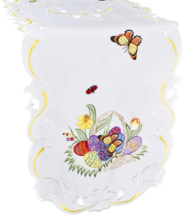 embroidered colorful butterfly easter egg table runner