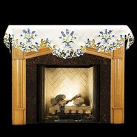 fireplace mantel scarf with embroidery blue bonnets