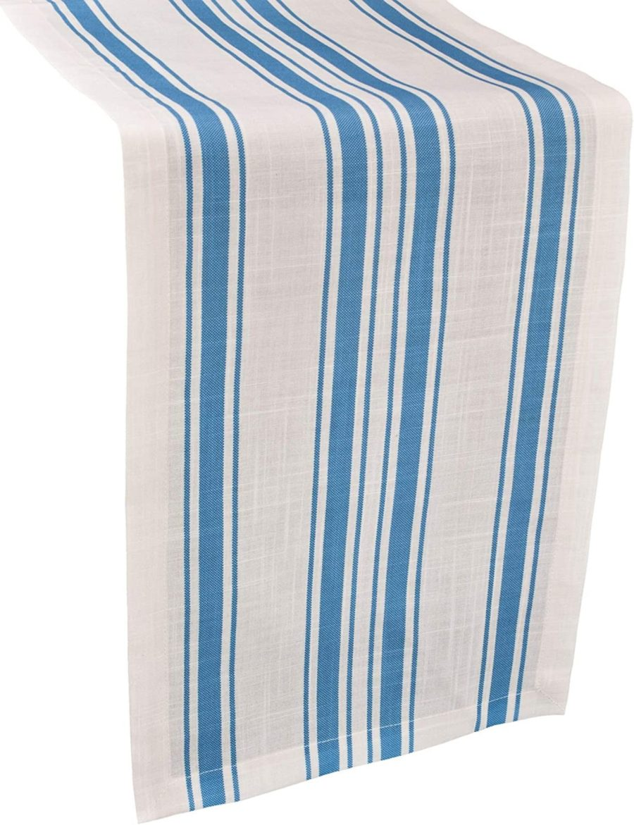 gray, blue or green and white stripe table runner – green and white