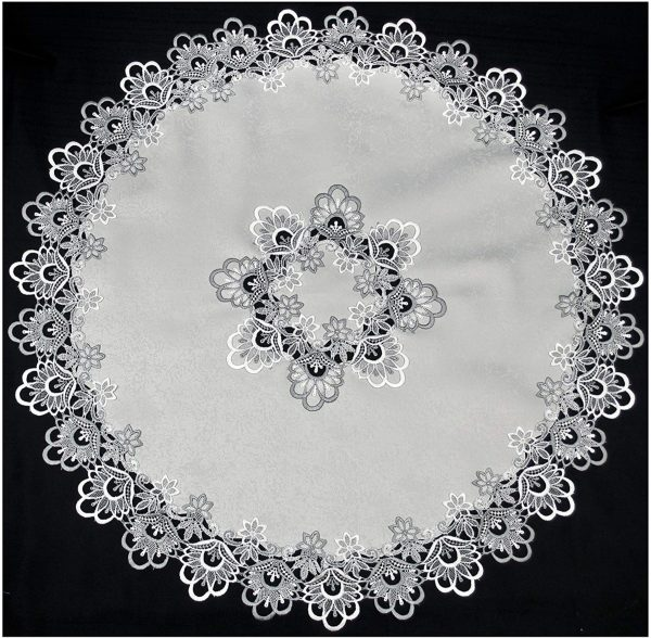 silver peacock tail lace on silver table doily