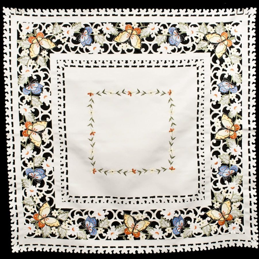 embroidered butterfly table topper – 44×44